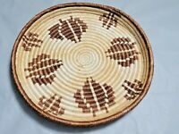 Vintage Handmade Basket Woven Grass Coil Tray 13'' W