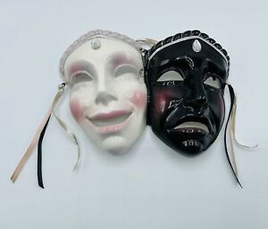 Vintage CLAY ART San Francisco USA Ceramic Dual Drama Happy Sad FACES Hang Art