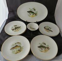 Porzellan Teller Set mit Fischmotiv 10 Stück Winterling Bavaria 60er Jahre