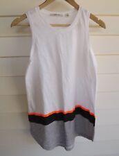 Country Road Women's White Orange Black & Grey Stripe Singlet Top - Size XS
