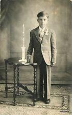 1930s Young man Interior Religious Items Photo Studio #2 RPPC Real photo 10265
