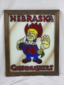 Nebraska Cornhuskers Vintage Stain Glass Picture Framed Art Herbie Husker 22×18