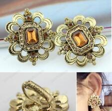 CLIP ON EARRINGS filigree ANTIQUE GOLD TONE square RHINESTONE topaz crystal
