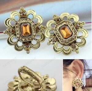 CLIP ON EARRINGS filigree ANTIQUE GOLD TONE square RHINESTONE topaz crystal