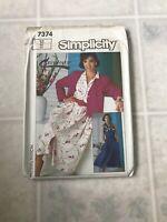 SIMPLICITY #7374 LADIES Shirt DRESS and Jacket  PATTERN Size 12 Uncut