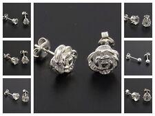 925 Chapado en Plata de ley Aretes Conjunto de 7, 4 - 8mm cristal, bola, Rosa.