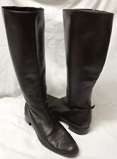 Lord & Taylor Cantor Brown Leather Tall Boots Flat Sole Size 8.5M