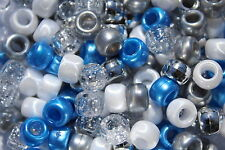 Frozen Winter Wonderland Pony Bead Mix 9mm x 6mm Hole 4mm - 100 Beads