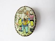 Vintage Chinese silver plate & porcelaine Miroir powder box