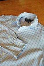 Men's Ralph Lauren Pale Blue Stanton Striped Custom Fitted Shirt - Size Medium