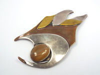 Vintage Artisan Silver Brass Copper & Agate Large Modernist Brooch Pin, signed