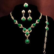 4PCS 14k Gold Plated green Necklace Bracelet Earrings Ring Women's Jewelry Set