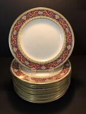 "Set 12 Johnson Brothers ""Pareek"" 10 3/4"" Dinner Plates - Blue Enameled Flowers"