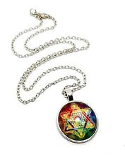 Metatrons Cube Number 13 Kabbalah Pendant Statement Chain Necklace Jewellery V2