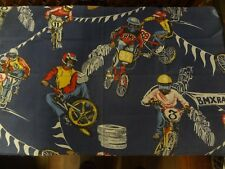 Funky Vintage BMX BIKE RACE / RALLY Themed Fabric (65cm x 55cm)