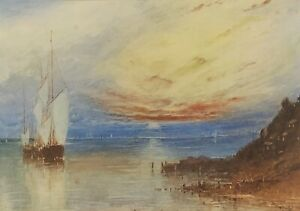"""Harbour Light """"Untitled"""" Watercolour Painting Signed Huett lower Right"""