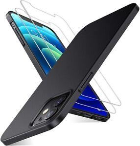 For Apple iPhone 12 Mini/Pro/Max Ultra Slim Hard Cover & Glass Screen Protector