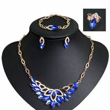 Popular Bridal Gifts Blue Rhinestone Glass Necklace Ring Bracelet Earrings Set