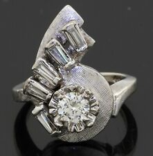 Antique 14K WG amazing .75CTW VS1/G diamond cocktail ring w/ .35CT ctr. size 3.5