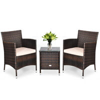 Outdoor 3 PCS Rattan Wicker Furniture Set w/2 Chairs Coffee Table Garden Beige