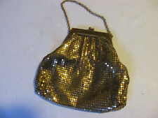 Vintage Evening Bag Whiting & Davis Co. Gold Color well Made & Sturdy. Made USA.