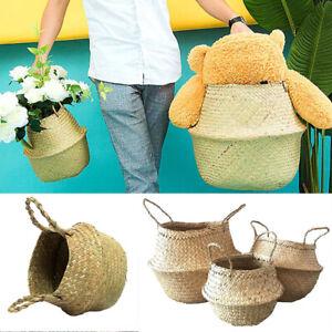 Natural Wicker Woven Storage Basket Seagrass Flower Plants Straw Pots Home Decor