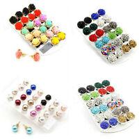 Glitter Women Pearl Crystal Rhinestone Ear Studs Elegant Earrings Jewelry hs