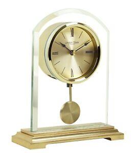 London Clock Company Gold Finish Quartz Battery Mantel Clock with Pendulum 03148
