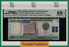 TT PK 141 2003 MOZAMBIQUE BANCO 200000 METICAIS PMG 68 EPQ SUPERB TIED AS BEST!