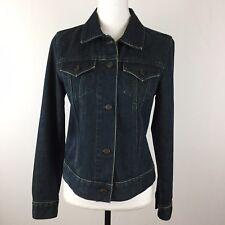 Women's Size Medium GAP Stretch Denim Jacket Dark Blue Wash 100% Cotton