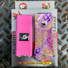 Combo Gift Set Rechargeable Stun Gun + Pepper Spray w LED LIGHT + PINK GLITTER