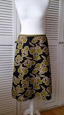 LAURA ASHLEY Green Botanical Leaf Print Linen Mix Skirt Size 12