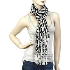 Ladies Lightweight Zebra Design Black and White Fashion Scarf Tassels Long  Soft