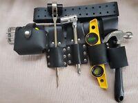 Scaffolding BLACK Leather TooL Belt 2 Frogs Level Hammer Tape Holder Tools Set