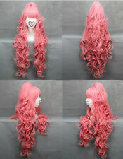Women Charming Long Pink Wavy Curly Hair Cosplay Party Heat Resistant Full Wigs