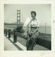 Double Exposure Woman Sitting Camera Bridge Ocean Beautiful Odd Vintage Photo