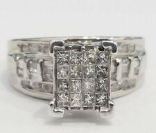 Clearance White Gold Princess 1 CT Diamond Wedding Engagement Bridal Ring Band