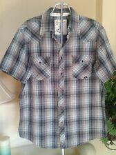 COASTAL Men Short Sleeve Plaid Snap Button Down Shirt Size L EUC