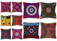 """Indian Embroidered Pillow Cases Suzani Cushion Square 16"""" Pillow Cushion Cover"""