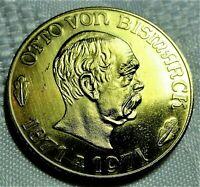 Vergoldete Medaille - Otto von Bismarck 1971- 100 J Reichsgründung st / unz