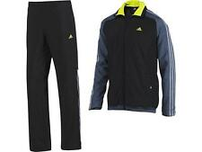 SIZE SMALL 34/36 - ADIDAS WOVEN 365 MESH LINED FULL TRACKSUIT - BLACK / GREY