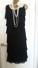 Jacques Vert Black Layered Black Ruffled Evening Dress & Scarf, size 18