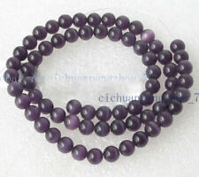 8mm Dark Purple Mexican Opal Cat's Eye Stone Round Gemstone Loose Beads 15''