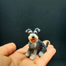 Ceramic Schnauzer Dog Figurine Animals Sitting Gray Decor Miniatures Collectible