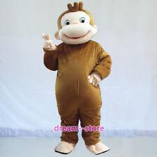 【SALE】 New Curious George Monkey Mascot Costume Adult Size Halloween Dress
