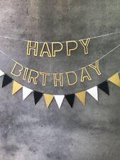 "Glitter Gold Black ""Happy Birthday"" Banner Bunting Flat Set"