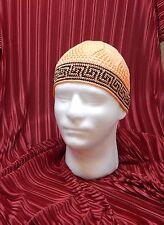 jacquard cotton crochet men cap hat beanie scull KUFI orange black knit SJS