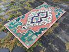 Entryway rug, Doormats, Turkish rug, Handmade rug, Wool, Geometric   1,3 x 2,6 f