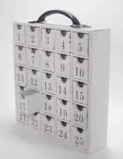 Wood Box Perpetual Advent Calendar Christmas Storage 25 Empty Drawers White