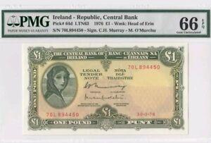 1976 Ireland 1 Pound PMG66 EPQ GEM UNC <P-64d>